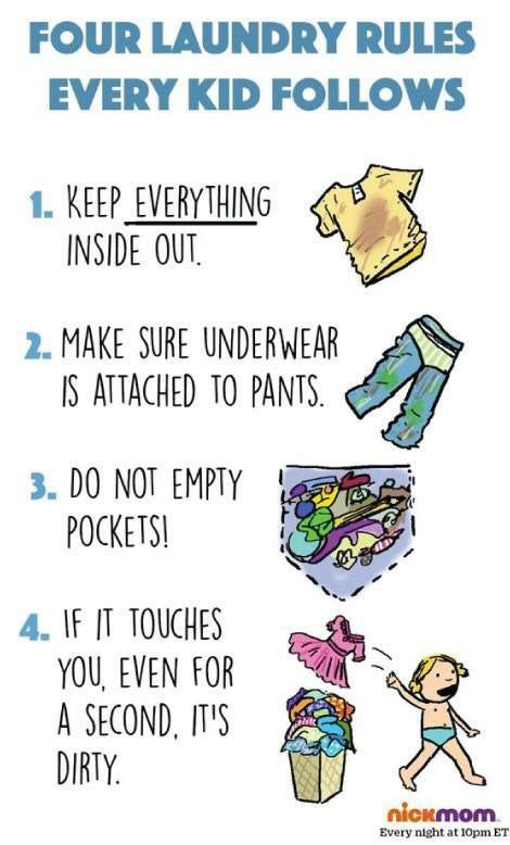 4 Laundry Rules every kid follows.