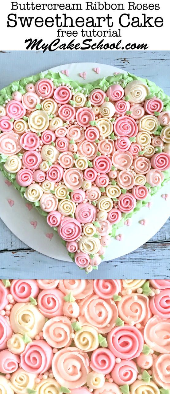 Beautiful Buttercream Ribbon Roses Heart Cake Tutorial by MyCakeSchool.com! Perfect for Valentine's Day and anniversaries. Free video tutorial! Learn cake decorating online.