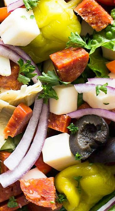 Antipasto Salad- One great shortcut you can use is to buy the main course and then just make a spectacular salad! Add some garlic bread and you can just set back and wait for the compliments!