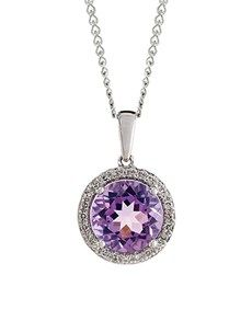 Necklaces - White Gold Diamond: Amethyst And Diamond Pendant!