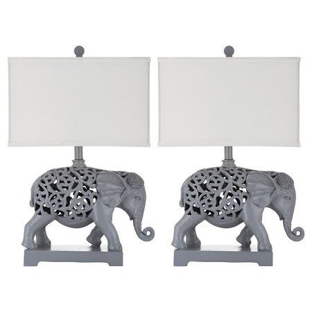 Set of 2 Bohemian Elephant Theme Table Lamps