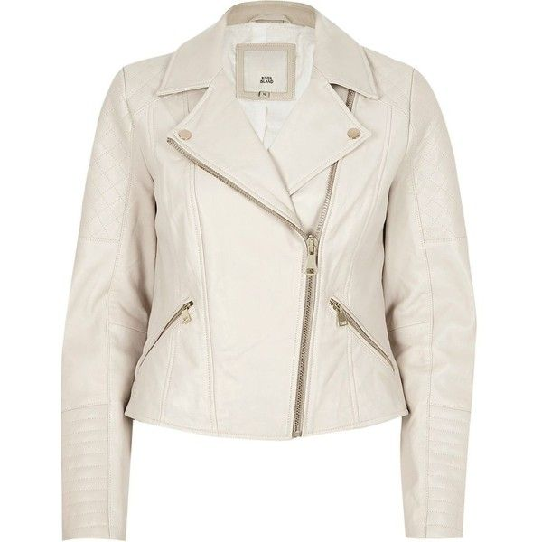 River Island Cream quilted leather biker jacket ($240) ❤ liked on Polyvore featuring outerwear, jackets, coats / jackets, cream, women, quilted biker jacket, white moto jacket, white jacket, moto jacket and quilted jackets
