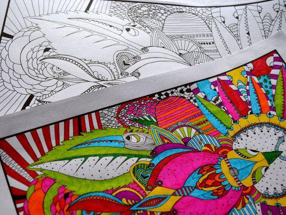 ausmalbild  doodle  vögel  größe 6000x 4232 pixel