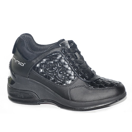 sneakers con zeppa alta in pelle nera