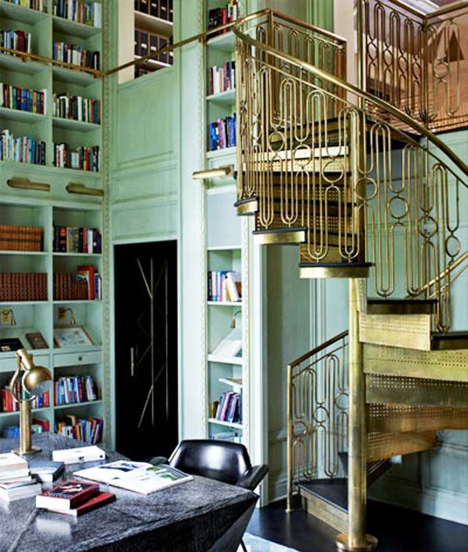 Two level library of a Mercer Island home