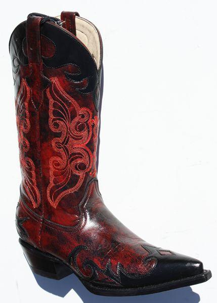 Bottes, santiag Femme Go West Bottes Juarez noir rouge