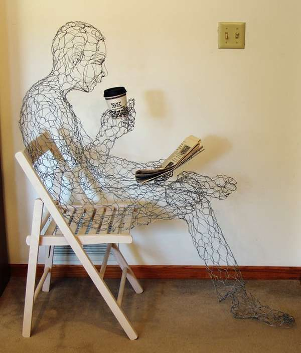 Manly Wired Sculptures - The Coffee Man by Ruth Jensen is a Web of Wonder (GALLERY)