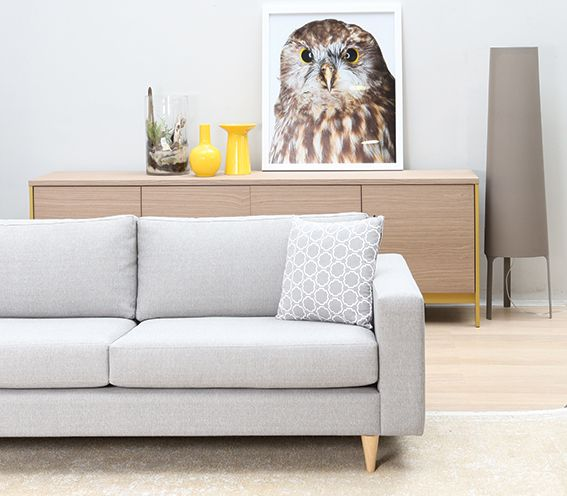 Michael sofa with Factory sideboard by Calligaris and Morepork artwork by Rob Trathen. #Calligaris #DawsonandCo