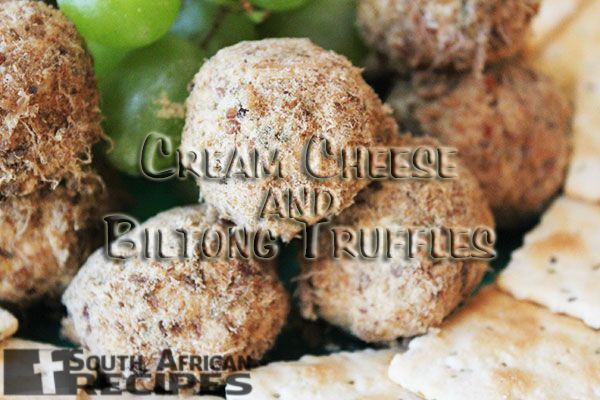 South African Recipes |  CREAM CHEESE AND BILTONG TRUFFLES