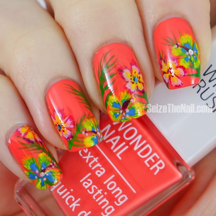 quenalbertini: Tropical on a coral base nails - Best 25+ Tropical Nail Designs Ideas On Pinterest Tropical Nail
