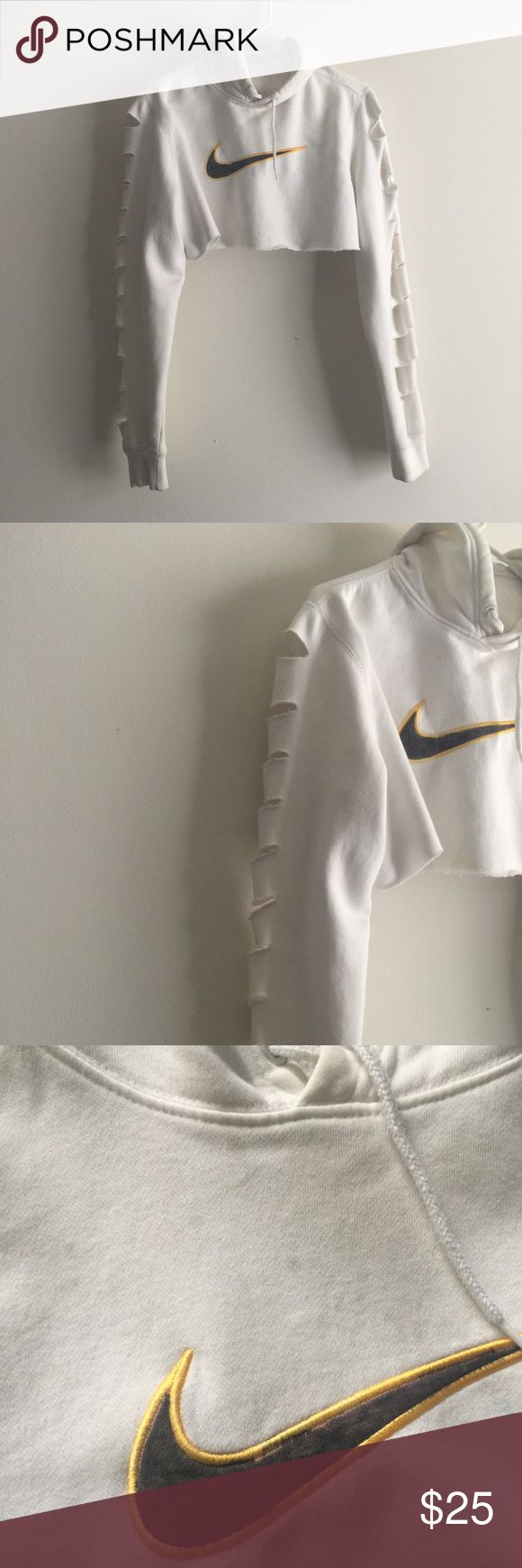 Nike hoodie crop Cropped by me. Size medium. Nike Tops Crop Tops