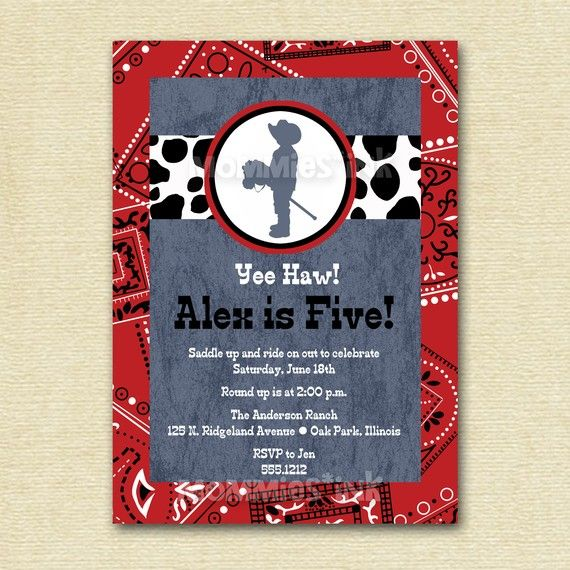 Little Cowboy Bandana Birthday Party Invitation  by MommiesInk, $12.00
