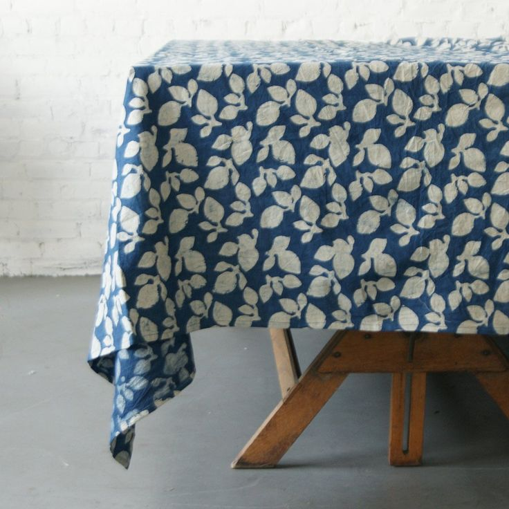 Cotton Block Print Tablecloth- Indigo Blue Leaf Pattern - TABLECLOTH- Rustic Loom