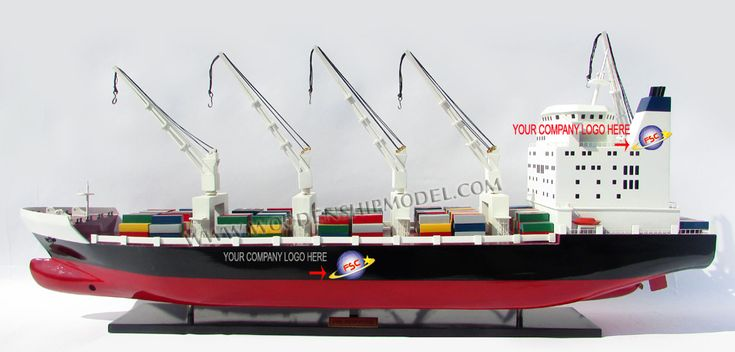Custom Type Model Container Ship with Cranes