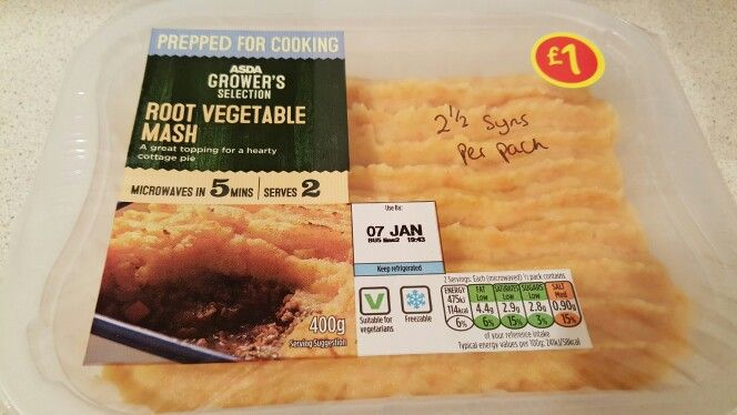 Asda root veg mash, 2.5 syns per pack (400g)   Delish!