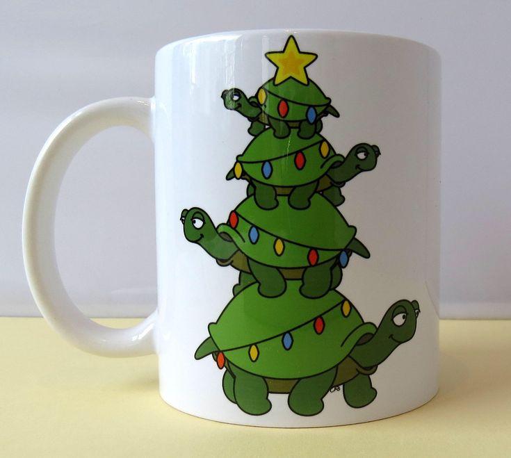 Tortoise/Turtle Christmas Tree - 11oz Ceramic Mug - Gift for Her - Gift for Him - Housewarming by LemonsLovelyLoot on Etsy https://www.etsy.com/uk/listing/567941774/tortoiseturtle-christmas-tree-11oz