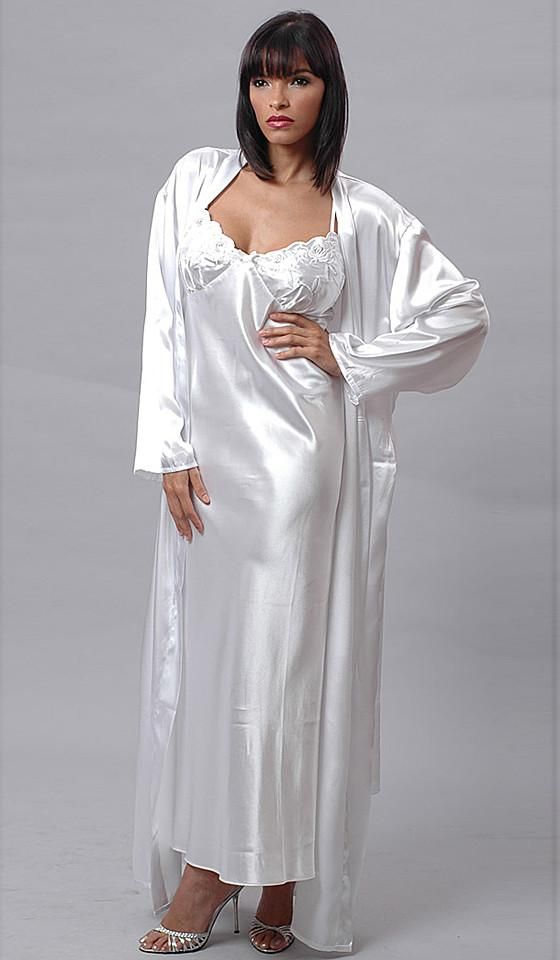 318434d9b7f Nightgown   Robe Peignoir Set - Bridal White Charmeuse w Silver Embroidered  Cups