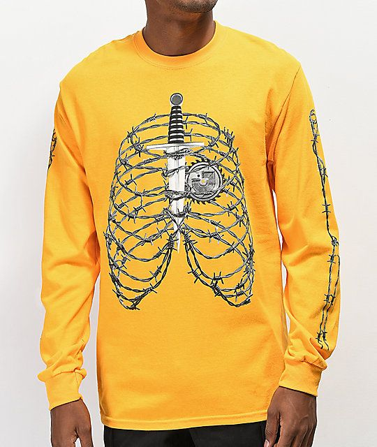 61d248a87 Post Malone Rib Cage Yellow Long Sleeve T-Shirt in 2019