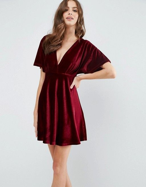 ASOS | ASOS - Vestitino stile kimono in velluto con scollo profondo e gonna a pieghe  --- Kimono style deep red velvet dress with empire style waist and fshort flare skirt ---- would also look good worn as a tunic top with leggings or smart trousers :)