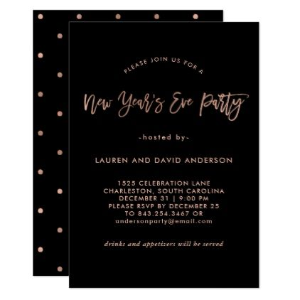 Modern Faux Rose Gold | New Years Eve Party Card - New Year's Eve happy new year designs party celebration Saint Sylvester's Day