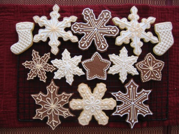A different take on snowflakes - chocolate with white and ivory icing