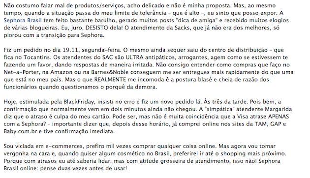 Os motivos para pensar duas vezes antes de fazer uma compra no site da Sephora Brasil