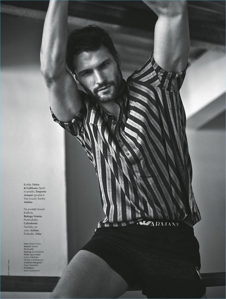 Tomas Skoloudik sports a striped Dolce & Gabbana shirt with Emporio Armani underwear and Adidas shorts.