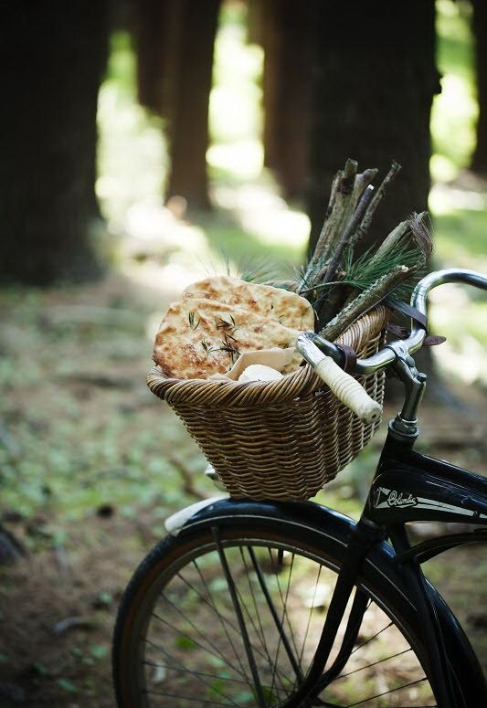 bread: Bicycles, Bikes, Food, Bread, Picnics, Forest, Bike Baskets