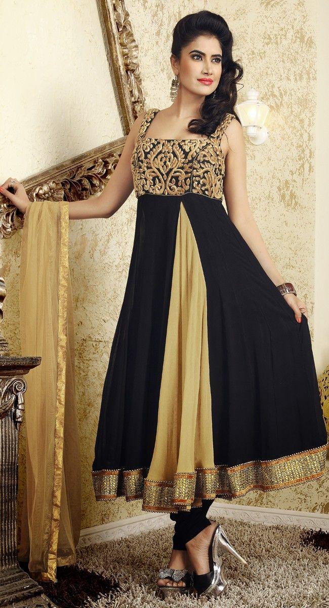 Contemporary Bige Brown & Black Salwar Kameez