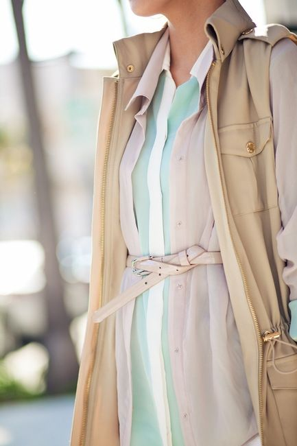 Layered with knotted belt - #fashion