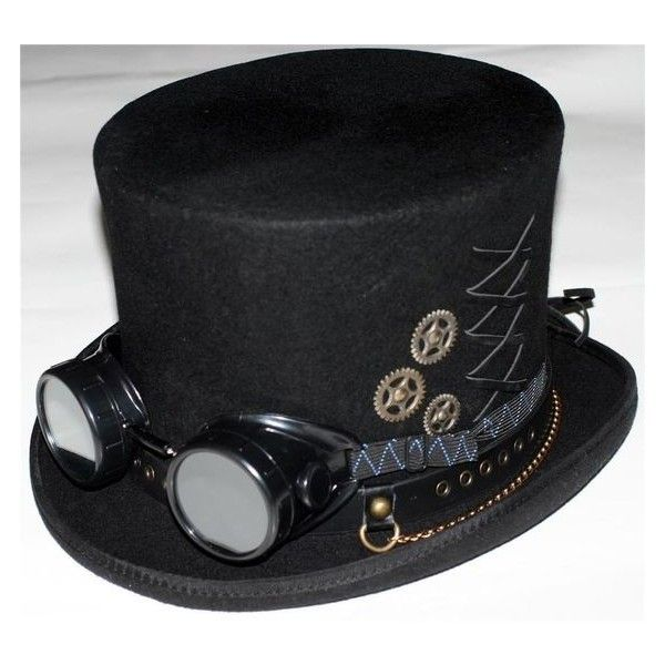 STEAMPUNK VICTORIAN GOTHIC Genuine Wool Mens MAD HATTER TOP HAT with... ❤ liked on Polyvore featuring men's fashion, men's accessories, men's hats, mens hats, mens wool hats and mens top hats