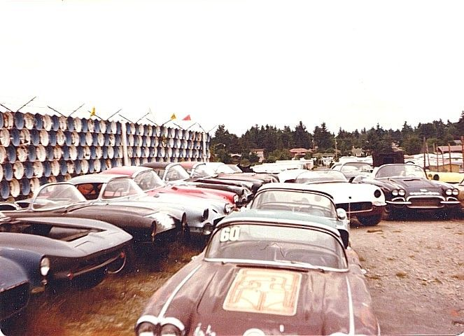 "Corvette junkyard. ""Lincoln's Salvage"" from the Seattle area."