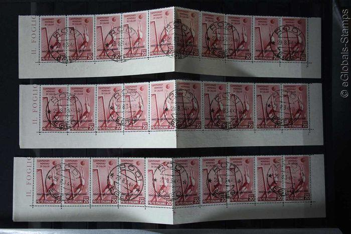 Italië 1934 - Egeïsche stempel collectie voetbal sport 1934 in Strips  3 certificaten RaybaudiGenuine geannuleerd (Zie certificaten)De Sassone kat. waarde van 2018 voor de partij euro is 70900Op deze manier op de ingevoegde afbeeldingen geteld80 x 130 N. 75 euro 1040070 x 550 N. 79 euro 3850050 x 440 A34 A35 A37 Euro 22000Totaal euro 709005 waarden in reepjes van tien (gevouwen in Midden)Let op: de waarde 75 cent is aanwezig op het certificaat maar niet in deze kavel!De scans tonen fronten…