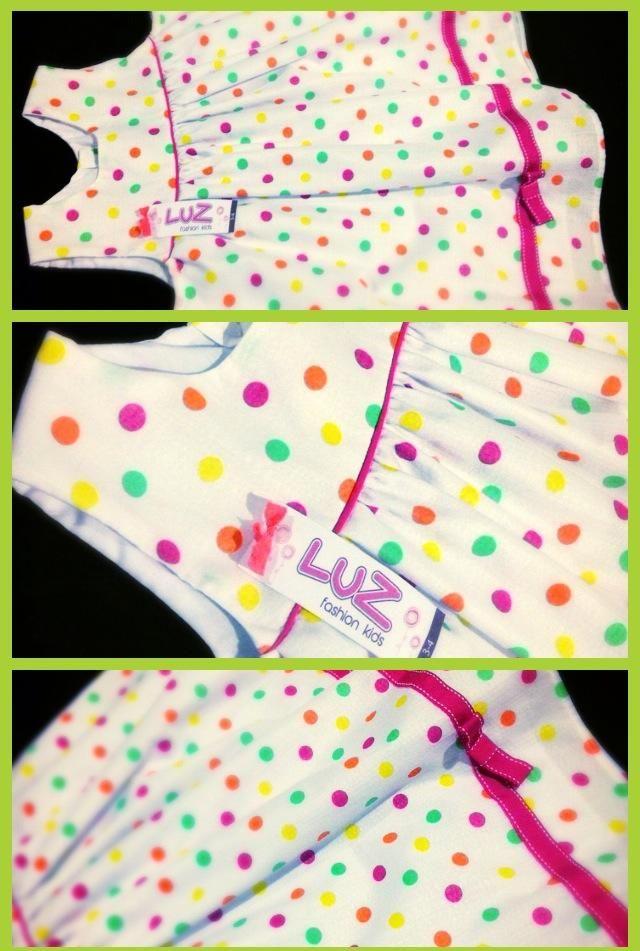 Bolitas de colores en tela de algodón y detalles con cintas en fucsia.  Fresco y divertido! Talla 3-4 años