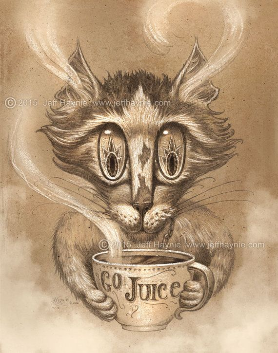 coffee cat 11 x 14 print coffee cat painting