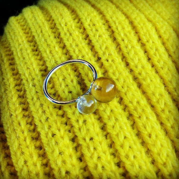 Twin Drop Ring Spiritual power amulet with Rock crystal for clarity and spiritual connection, and honey quartz for manifestation.