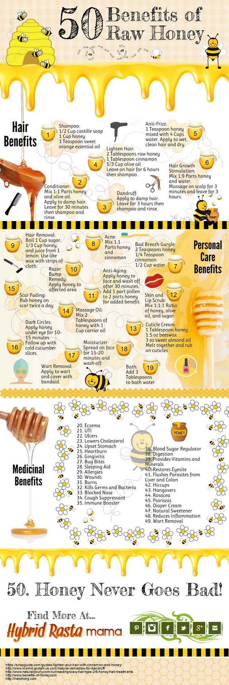 50 Benefits of Raw Honey Infographic - Find out what all the hype is about raw honey. Plus a source to get it for pretty cheap! #rawhoney                                                                                                                                                      More