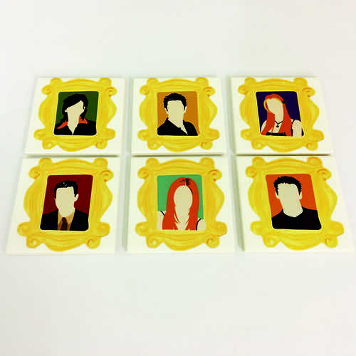 White Ceramic Tile Coaster, perfect for any fan of the hit TV show Friends – Featuring The Full Cast in Frames  Printed at Uveeka's HQ Full colour high quality printing Scratch Resistant, Shower Proof Size – 100 x 100mm High Quality Ceramic Used Gloss Finish