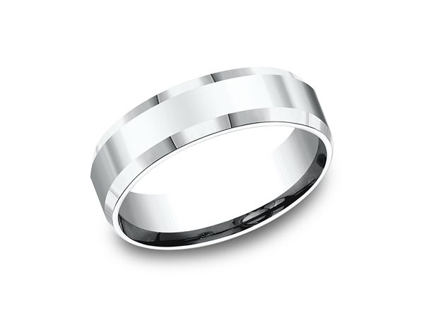 This Stylish 10 Karat White Gold 6mm Comfort Fit High Polished Carved Wedding Band Features A Slight Beveled With Images Engagement Rings Wedding Bands Mens Wedding Bands