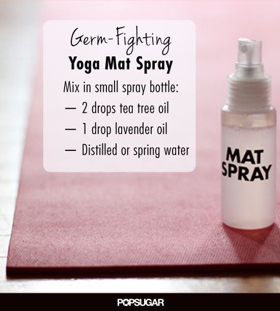 A DIY Spray to Keep the Yoga Mat Germ Free. Smells great and no chemicals:))!! #diygermspray #diyyogamatspray