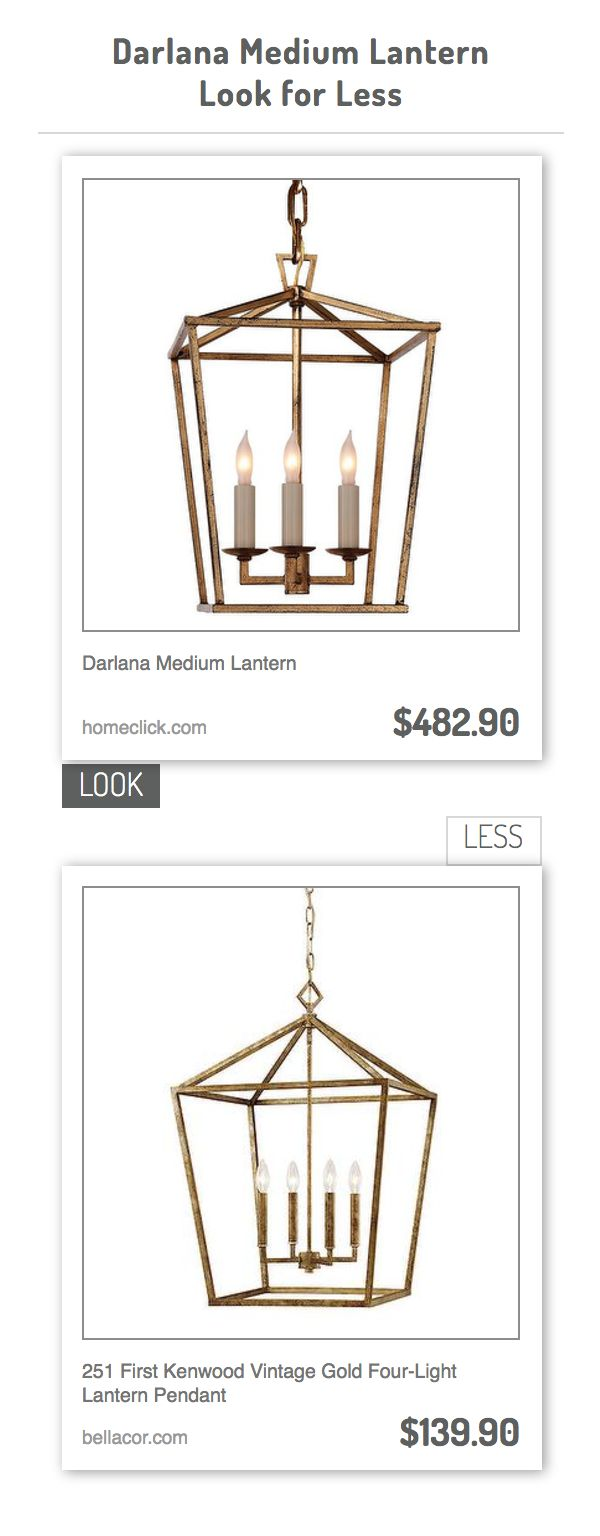 Darlana Medium Lantern vs 251 First Kenwood Vintage Gold Four-Light Lantern Pendant