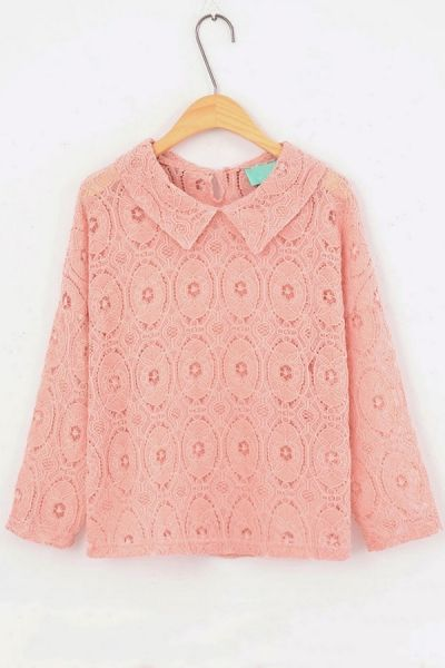 Crocheted Lace Long Sleeve Blouse