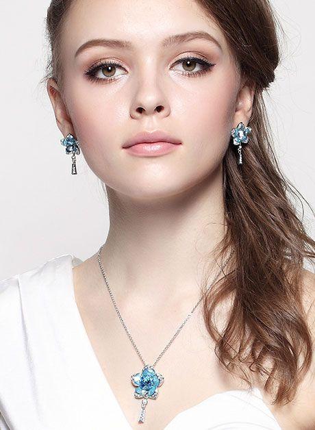 Nice Blue Flower - Necklace & Earring