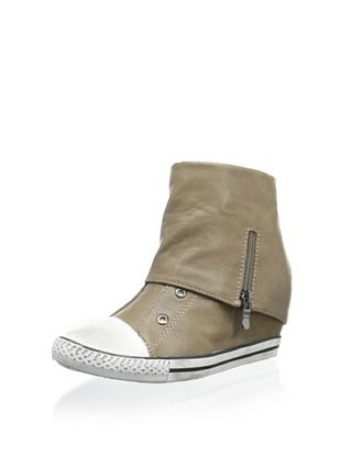 57% OFF Amiana Kid's Wedge Sneaker with Fold-Over Cuff (Taupe)