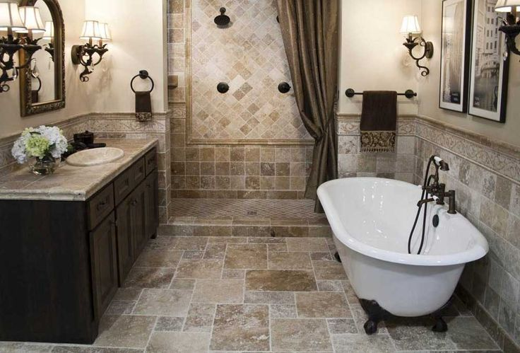 Small Bathroom Ideas Design with white bathub and marble floor