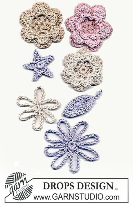 Diverse DROPS blomster Gratis opskrifter fra DROPS Design.