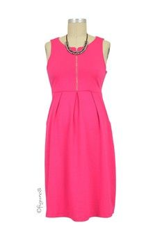 Spring Maternity Ponte Front Zip Nursing Dress in Fuchsia by Spring Maternity with free shipping