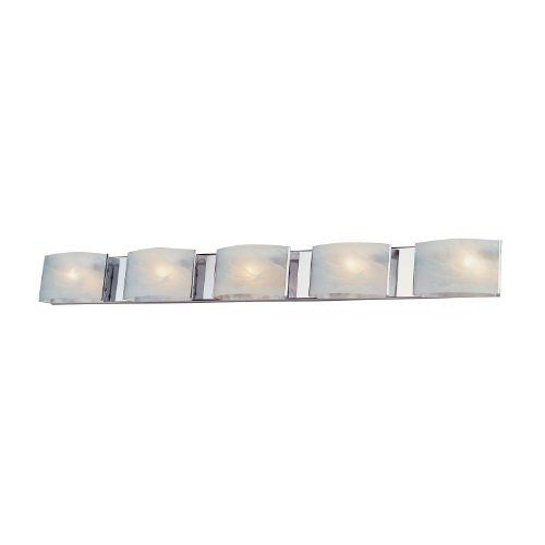 DVI DVP1755CH Vanguard Bathroom Bar Light by DVI. $223.45. From the Manufacturer                Finish: Chrome, Glass:Cloud Effect Glass, Light Bulb:(1)100w T3 R7S 78mm 120v Halogen Five Light Bathroom Vanity, No Junction Box Required Where Code Permits.                                    Product Description                DVP1755CH Finish: Chrome Features: -Bath vanity.-Cloud effect glass shade.-Modern style.-No junction box required where code permits.-Speci...
