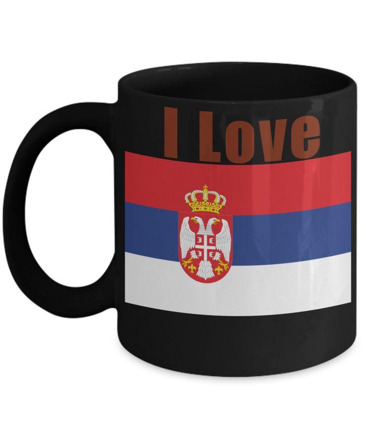 I Love Serbia Coffee Mug With A Flag