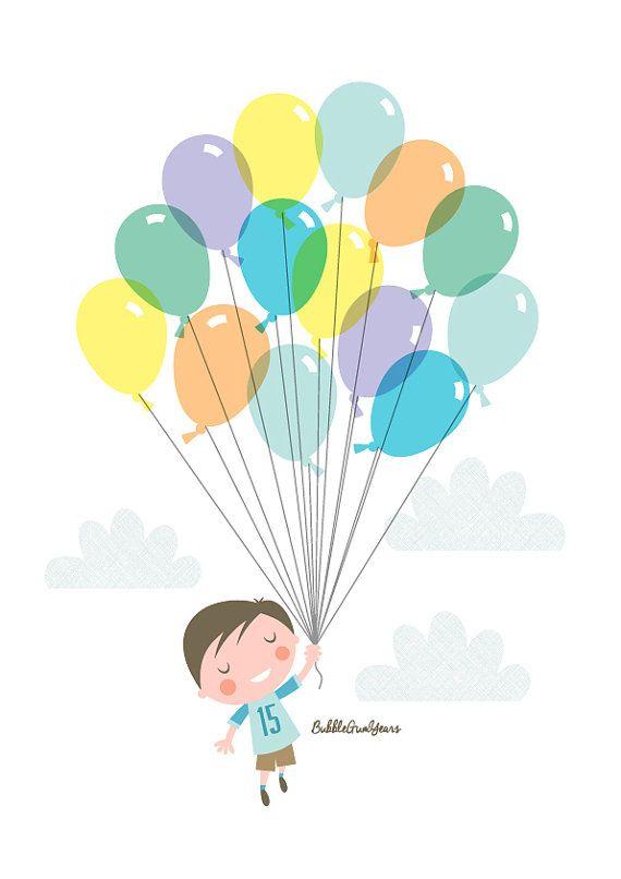 Vivaio arte ragazzo palloncino ragazzo bambino di BubbleGumYears